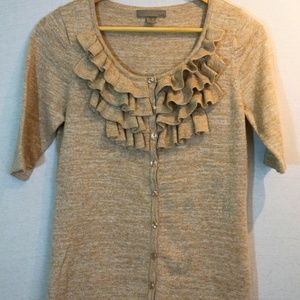 SALE One A Gold cardigan with front ruffle detal